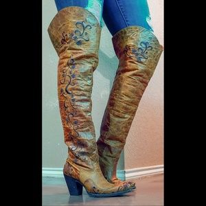 Liberty Black Cognac Over the Knee Cowgirl Boots 7